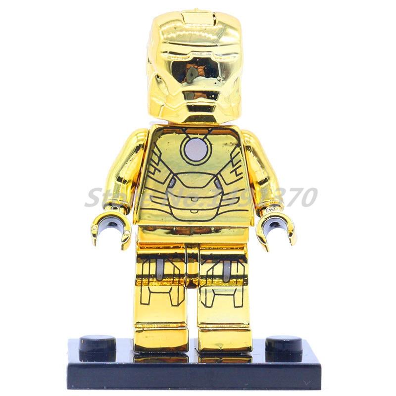 POGO Golden Vision Marvel Super Heroes Figure Building Blocks Iron Man Spider-Man Deadpool Silver C-3PO Toys For Children
