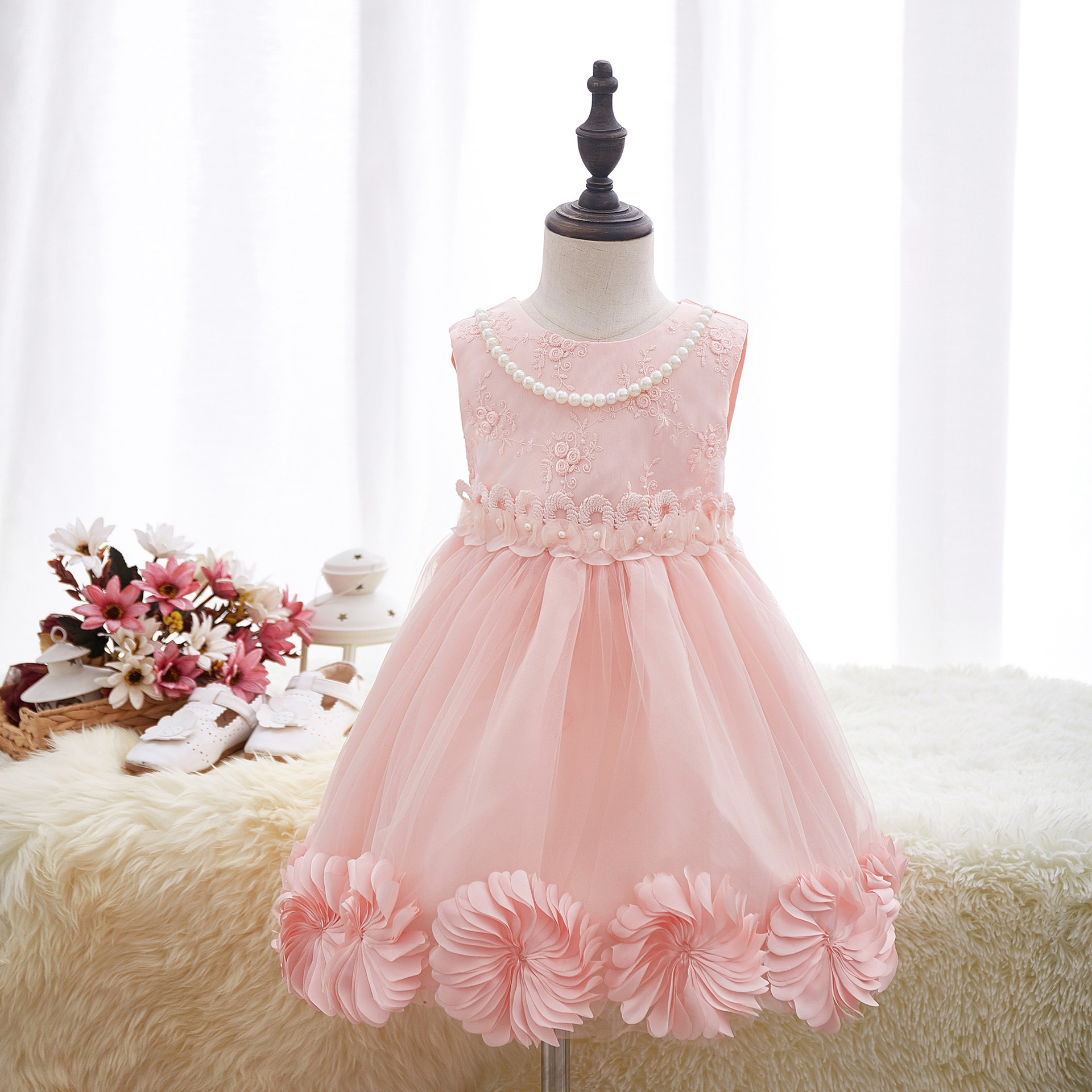 Baby Girls Party Dress 2017 New Arrival Summer Flower Birthday Prom For 3-8Years Kids Sleeveless Princess Dress Kids Clothing distrressed girls dress summer 2016 new arrival pink ripped denim dress for kids sleeveless solid casual girls overalls dress