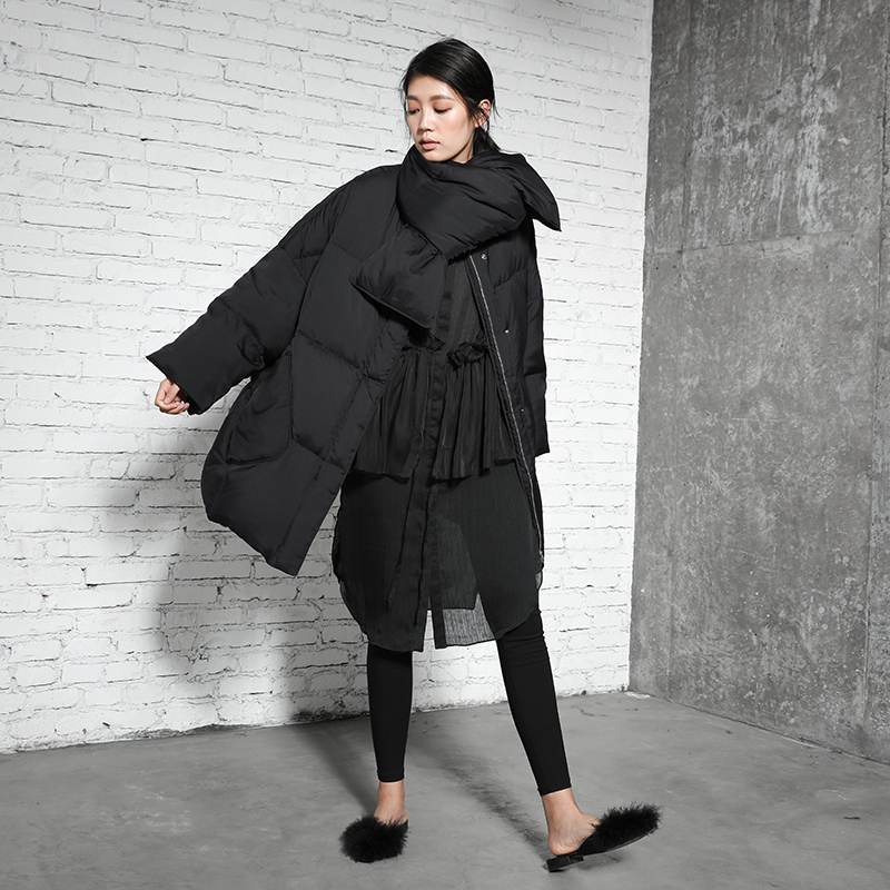 Original Design 2017 new arrival oversize white duck down jacket with scarf winter coat women