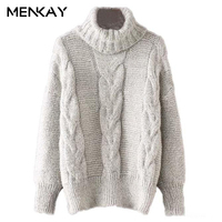 MENKAY Long Sleeves Turtleneck Women Knitted Sweater Female Knitwear Pullovers Winter Thicken Warm Clothes Ladies