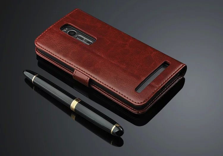 Retro Genuine Leather Stand Flip Wallet Case For Asus Zenfone 2 ZE551ML Capa Case For ASUS Zenfone 3 ZE520KL ZE552K 3 Max ZC520T in Phone Bumpers from Cellphones Telecommunications