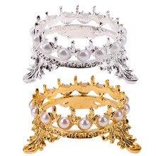 Gold Elegant Women Metal Crown Pearl Stand Nail Art Pen Brus