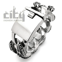 Hot Sale Occident Fashion Jewelry Stainless Steel Personality Rock Style Cool Men Bracelet Retro Patterns Male