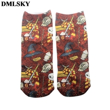 DMLSKY Cartoon Funny witchcraft and wizardry Socks Women Men Fashion 3D Printed Cotton breathable stockings M3663