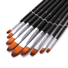 9pcs/set Tongue Type Watercolor Paint Brush Different Size Nylon Hair Acrylic Oil Painting Brushes For Drawing Art Supplies 803