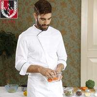 Food service restaurant kithcen high quality long sleeve breathable white top chef jackets with mesh in the back