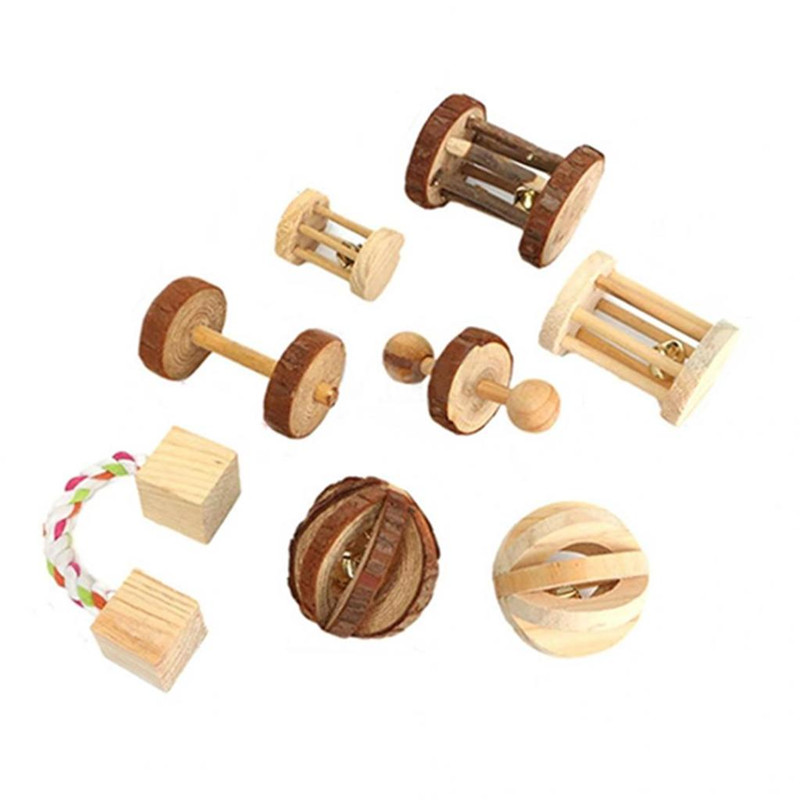 Hamster Rabbit Toy Pet Toys Pine Dumbells Unicycle Bell Roller Chew Toys For Guinea Pigs Rat Rabbits Pet Molars Supplies #3