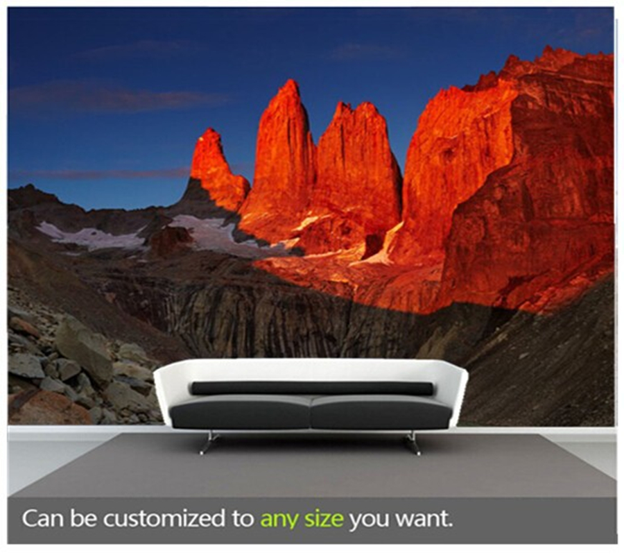 Custom Large Wallcoverings Mural For The Living Room Sofa Wallpaper Sunrise In Torres Del Paine National Park, Patagonia, Chile.