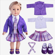 Born New Baby Fit 18 inch Doll Clothes Doll Pink purple suit shoe suit Pink white sequined yarn skir