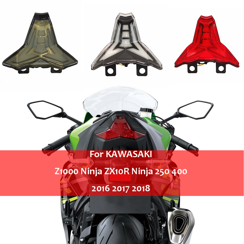 For KAWASAKI Ninja 250 400 ZX-10R ZX10R ZX-10RR ZX10RR Z1000 2014-2018 LED Tail Light Integrated Brake Stop Turn Signal Light