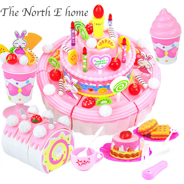 Girls Gift 103pcs 3 Layer DIY Pretend Play Cutting Birthday Cake Kid Kitchen Toys For Children Educational Boys Hou