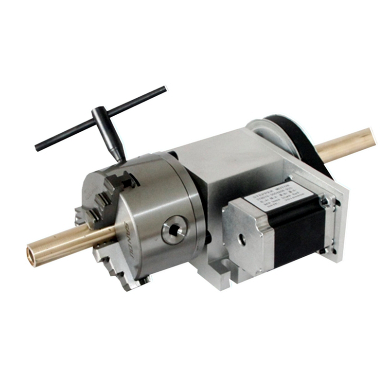 Hollow Shaft 4th Axis Rotary axis with 3 Jaw 100mm Chuck for Wood Engraving Machine