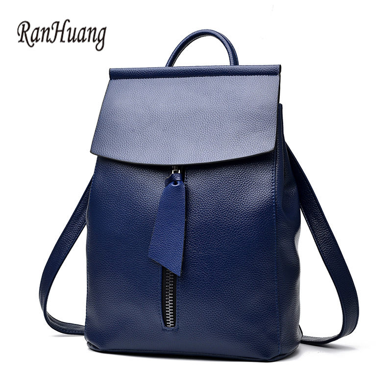 New Arrive 2017 Women Fashion Backpack High Quality Leather Backpack Ladies Rucksacks School Bags For Teenage Girls Blue mochila ranhuang brand new 2017 high quality women genuine leather backpack women s luxury backpack fashion bags for teenage girls a871