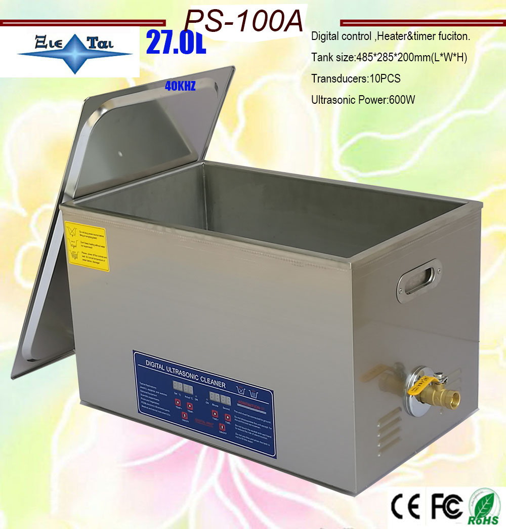 Hot Sale Free Shipping AC110V/220V  40KHz 600W PS-100A  Digital Timer&heater Ultrasonic Cleaner 27L The King Of The Moto Parts