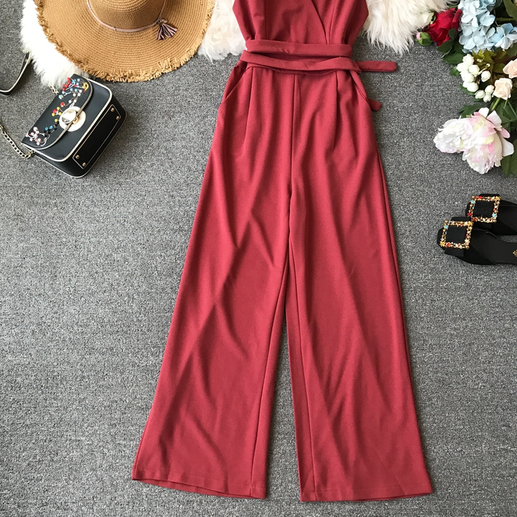 ALPHALMODA 2019 Spring Ladies Sleeveless Solid Jumpsuits V-neck High Waist Sashes Women Casual Wide Leg Rompers 42