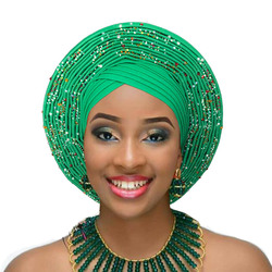 African headtie nigerian headtie with beads stones auto gele african gele women headwrap diamond turban for wedding party