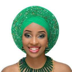 Afrikanische kopf wickeln frauen headtie traditionellen turban diamant dekoriert auto gele