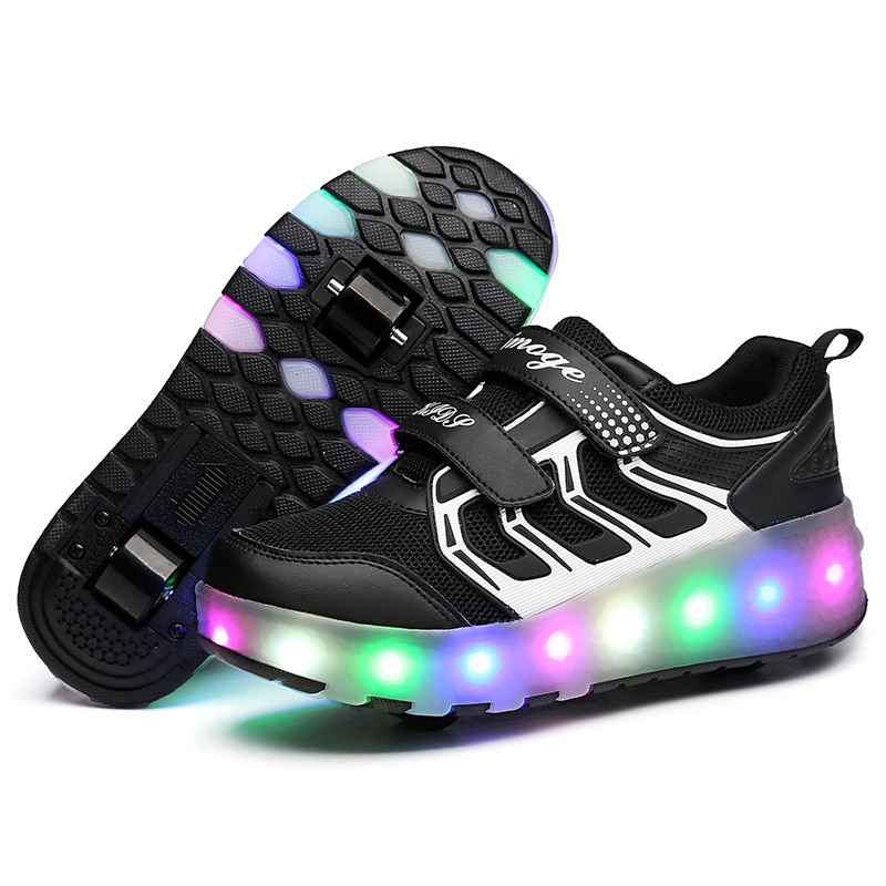 2019 Hot Sale Real Colorful Led Flashing Two Luminous Kids Boy Skates Shoes Female Sneakers Pulley Girl For Heelys Wheel Roller