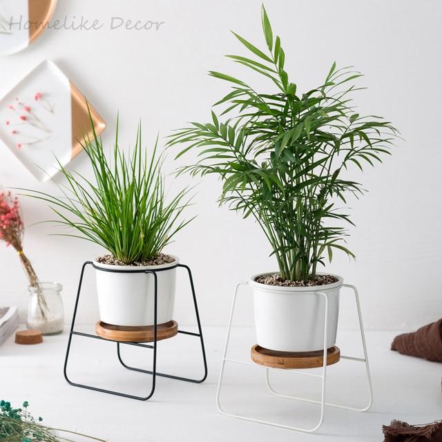 Minimalist Ceramic Flower Pots White Black Succulent Plant Pots With
