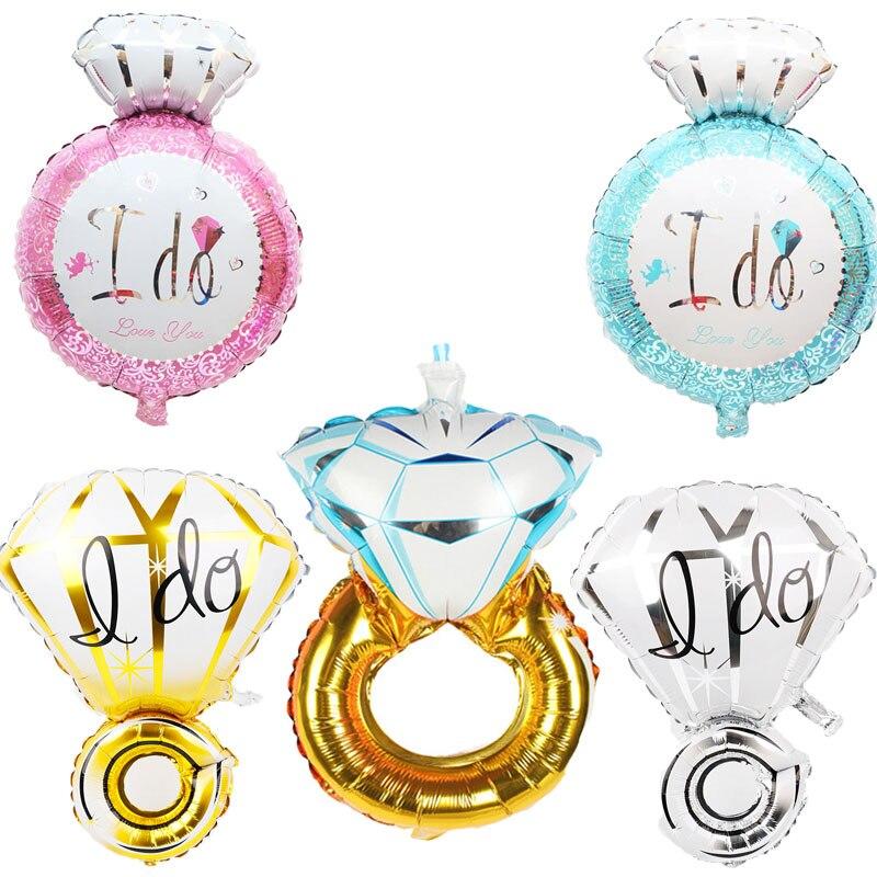 1 шт. Свадебные украшения для свадеб кольцо с бриллиантом Фольга шары девичник Обручение ...
