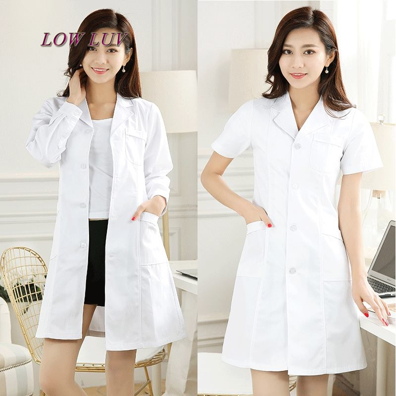 Long Sleeve Women/Men White Medical Coat Nurse Services Uniform Medical Scrub Clothes White Lab Coat HospitalClothes zh050
