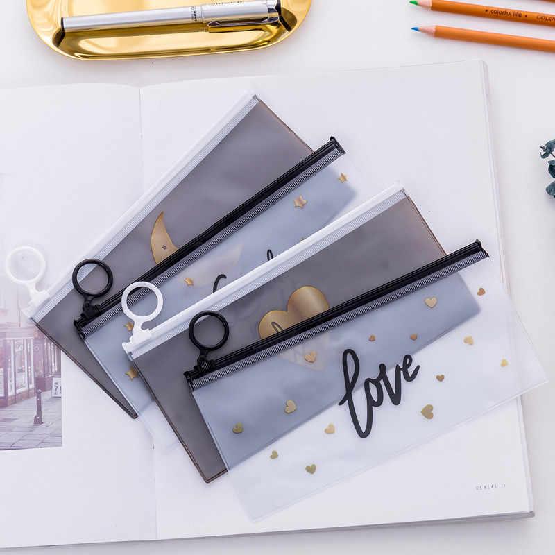 Polígono Helpro Transparente Lápis Casos Simples Anel de Puxar Projeto Escritório Estudante Material Escolar Saco do Lápis Caixa da Pena Dos Artigos de Papelaria
