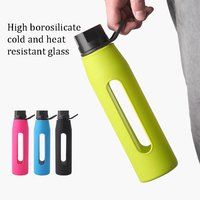 YiHAO 570ML Creative Silicone Water Bottles Glass High End Glass Sports Kettle Transparent Water Bottles High