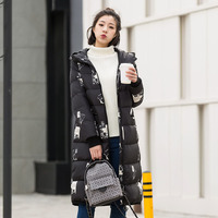 Pattern print hooded white duck down jackets women long design winter down coats 2018 autumn new collection