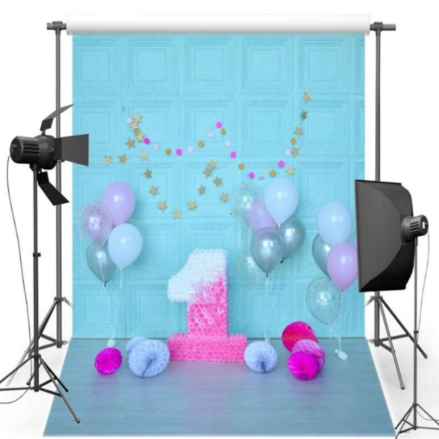 Balloon Blue Flower Wall 1st First Birthday Background Vinyl Cloth High Quality Computer Print Party Photo Backdrop