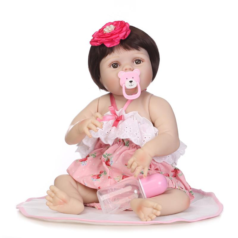 Hot 56cm Full Body Silicone Reborn Cute Girl Baby Doll Toys Newborn Princess Toddler Babies Doll Birthday Gift Child Bathe Toy hot 57cm full body silicone reborn sweet girl baby doll toys newborn princess toddler babies doll birthday gift child bathe toy