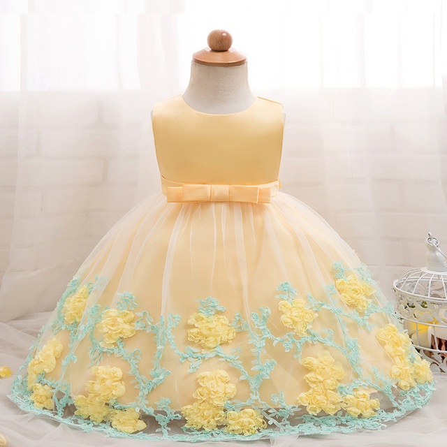 46e99e81734f6 US $13.03 13% OFF|Newborn Baby Girl Party Dress Flower Girl Wedding Gown 1  2 Year Birthday Dresses Tutu Infant Princess Dress Girl Baptism Clothes-in  ...