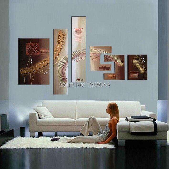 Картина маслом украшение дома Современная Большая Современная абстрактная картина маслом 6 шт./компл. Настенный декор Ландшафтные картины