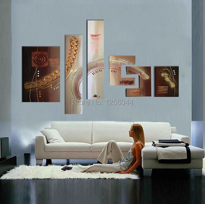 oil painting home decoration modern large modern Abstract oil painting 6 pcs/set wall decor landscaping paintings