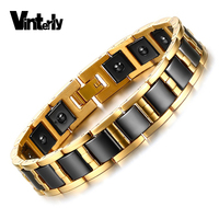 Mens Health Magnetic Hematite Bracelet Bangle Black Ceramic Bracelets Men Hand Chain Link Gold Plated Stainless