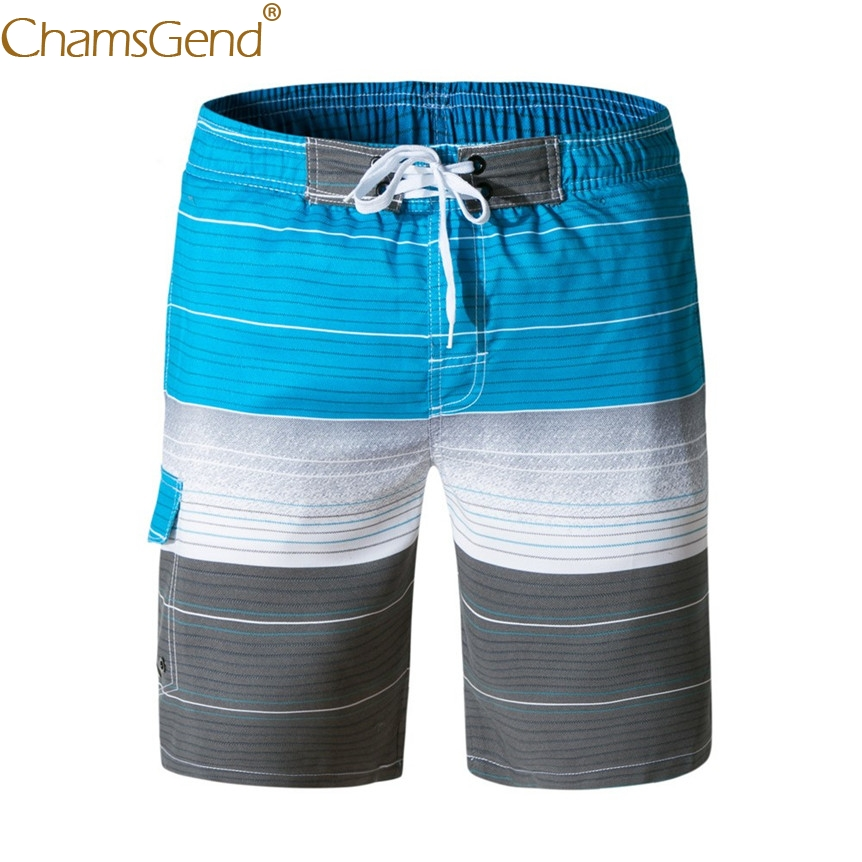 Mens Breathable Striped Lace-up Board Shorts Swimwear Trunks with Pocket 80404