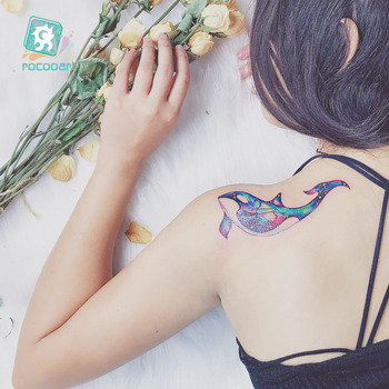 Watercolor Dolphin Temporary Tattoo Sticker Women sketch Unicorn Colorful Peacock Wolf Fake Flash Tatoo Girl Body backside Taty