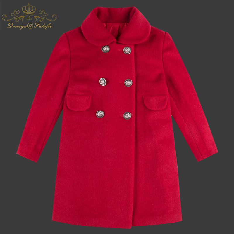 Baby Girls Coats 2018 New Spring Winter Warm Baby Red Wool Jackets Double-Breasted Baby Outerwear&Coats Kids Children Clothing girls jackets and coats 2018 new brand outdoor baby windbreaker coats kids warm capes children winter outerwear girls clothing