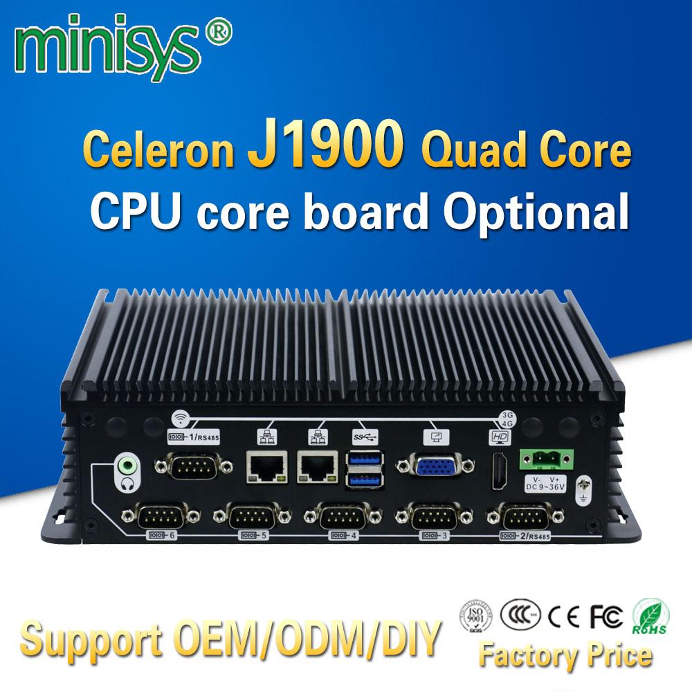 Minisys Embedded Computer Intel Celeron Quad Core J1900 Onboard 4gb Ram Dual Lan Linux Fanless Mini Industrial Pc With Sim Slot