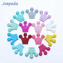 Joepada 100pcs Crown Beads Silicone Teething Toys Pearl Food Grade For Pacifier Chain Making DIY Baby Gift