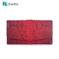 Модные дизайнерские Подлинная Python Змеиной большой Ёмкость Для женщин Trifold фиолетовый кошелек экзотические кожаные женские красный кошелек