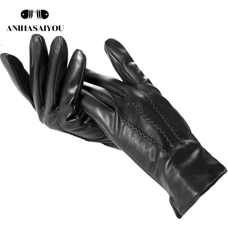 Simple New Mens Leather Gloves,Sheepskin Gloves Male Winter,Classic Winter Warm Leather Gloves Men,Black Winter Gloves Men-732