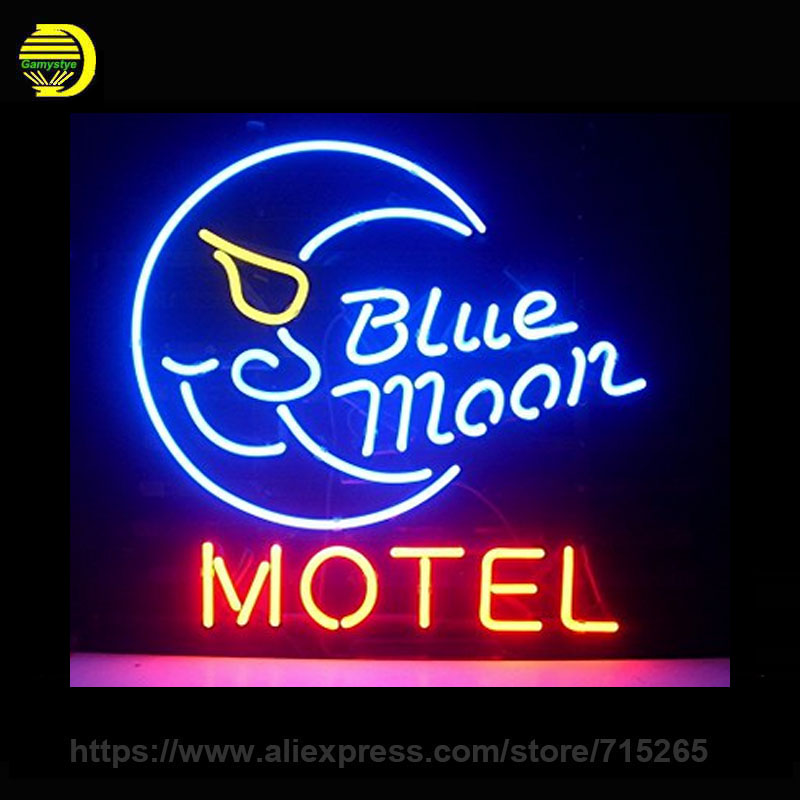 Blue Moon Motel Neon Sign Decorate Glass Tube Neon Bulb Recreation Room Handcraft Indoor Lamp Frame Sign Store Display 24x20