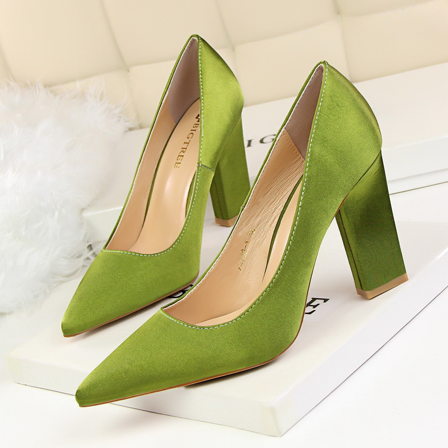 New Women Spring Pumps Fashion Tick Heeled High High Shoes Shallow Pointed Sexy Satin Silk Flock Concise Single Shoes G5239-1 koovan women pumps 2017 spring new shallow mouth pointed shoes heel pearl buckle with high heeled ladies shoes
