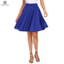 Urban CoCo Womens Basic Versatile Stretchy Flared Casual Skater Midi Skirt