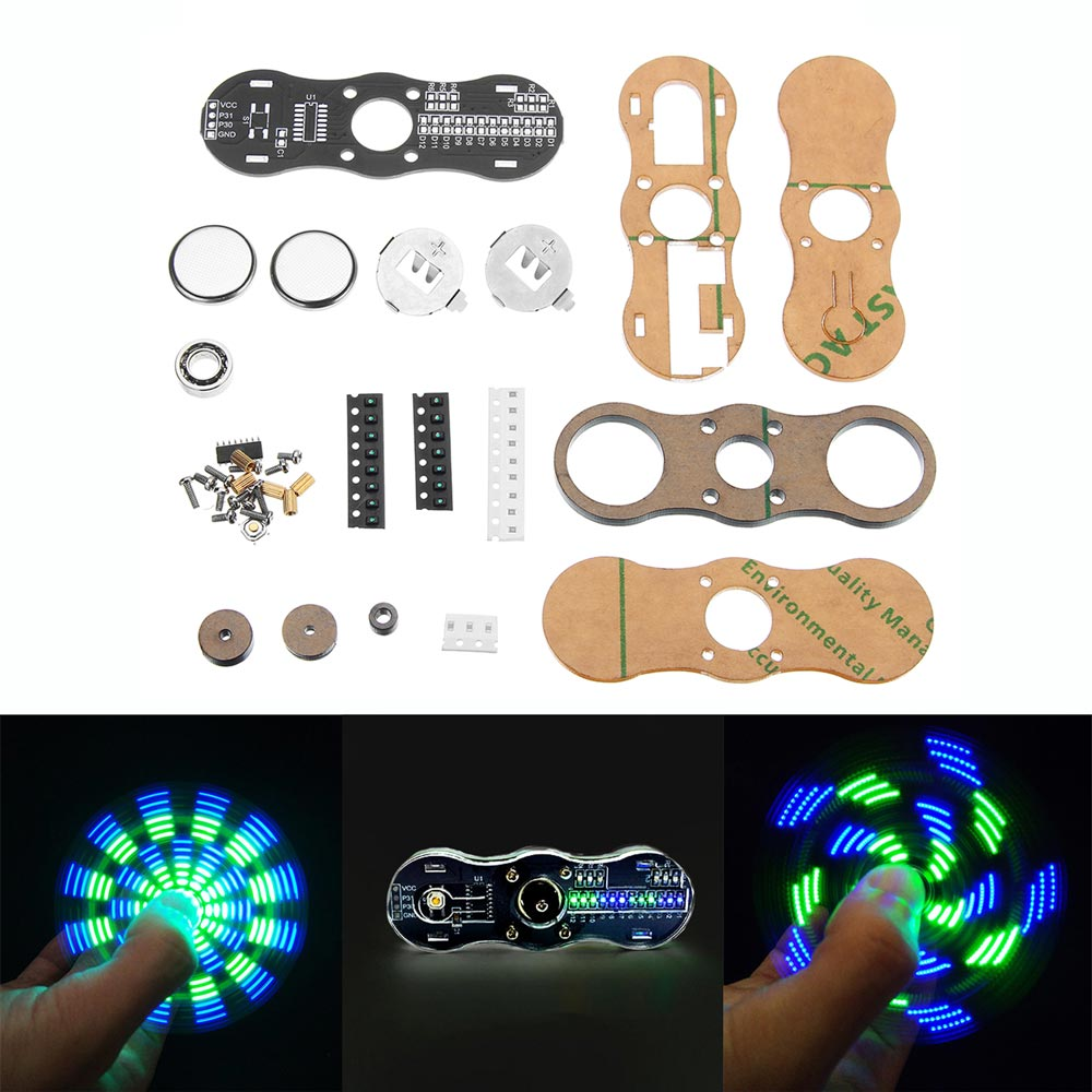 DIY LED Hand Spinner Electronic Kit C51 Single Chip Training Kit