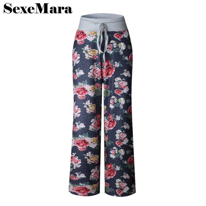 Buy SexeMara Tie dye flower print wide leg pants women loose trousers casual plus size sweatpants palazzo pants S-XXXL D38-I94 for $11.85 in AliExpress store