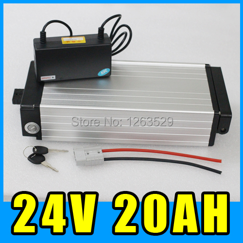 24V Ebike Lithium Battery , 20AH Rear rack Aluminum alloy Battery Pack , 29.4V Electric bicycle Scooter E-bike Free Shipping ebike 1000w lithium battery 48v 20 ah aluminium case rear rack bike electric bicycle lithium battery for samsung pack