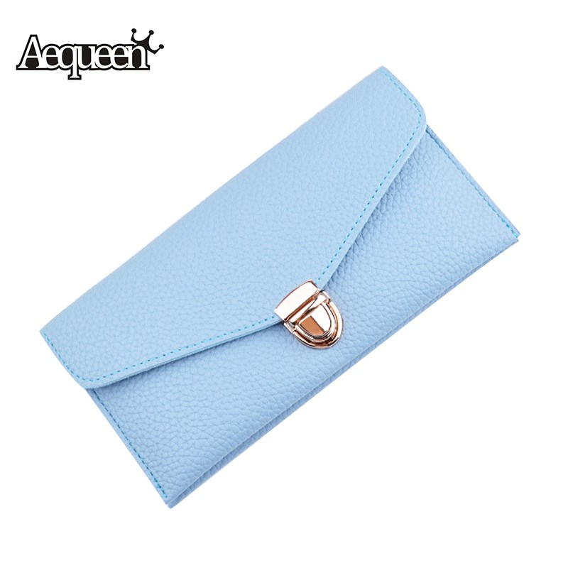 AEQUEEN Fashion Leather Women Long Wallet Portable Multifunction Womens Wallets and Purses Lady Coin Purse Pouch Card Holder