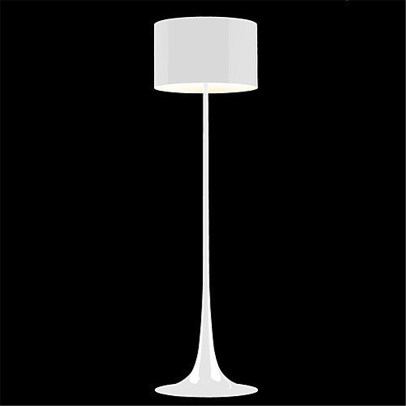 H162CM White/Black Wrought Iron Floor Lamp Modern Living Room ...