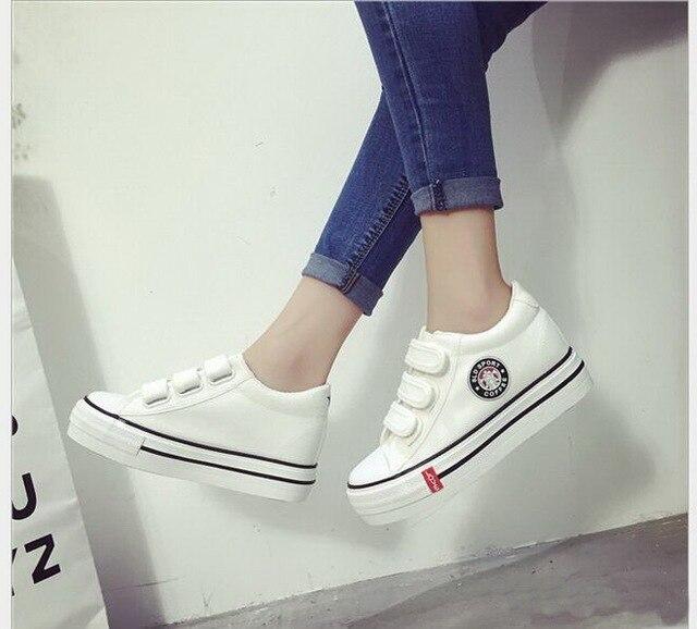 Zapatos de Plataforma transpirable zapatos de Lona de la mujer de moda las mujeres Ocasionales zapatos tenis femenino